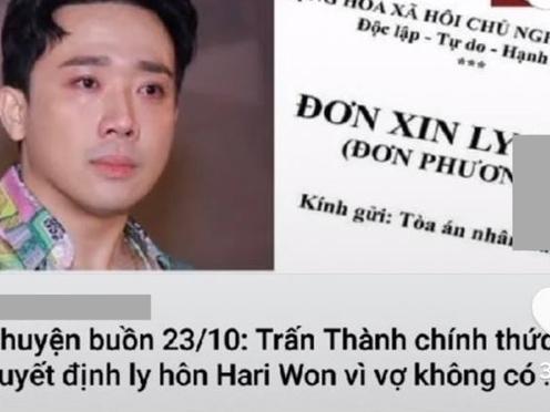 Trấn Thành và Hari Won bất ngờ bị tung tin đồn đã ly hôn lên mạng xã hội